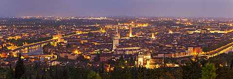 Italy, Veneto, Verona, Panorama of city at dusk