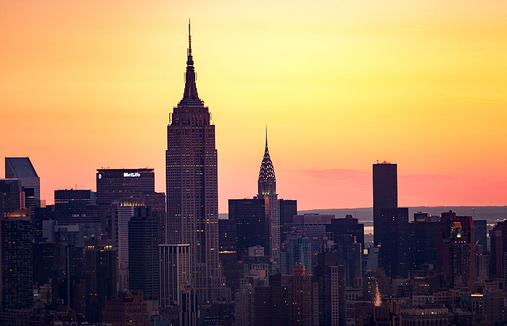 USA, New York State, New York City, Office buildings at sunset