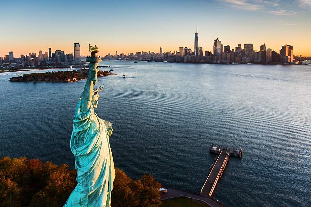 USA, New York State, New York City, Aerial view of Statue of Liberty at sunrise - 1178-25855