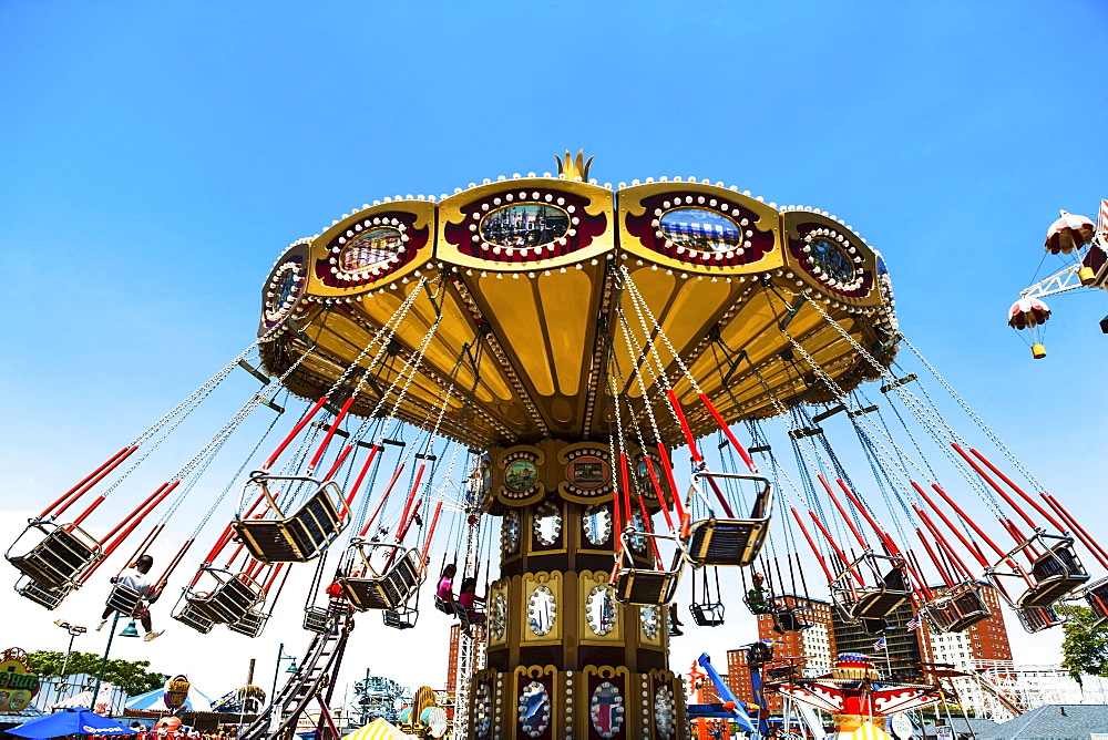 USA, New York State, New York City, Brooklyn, Carousel in amusement park