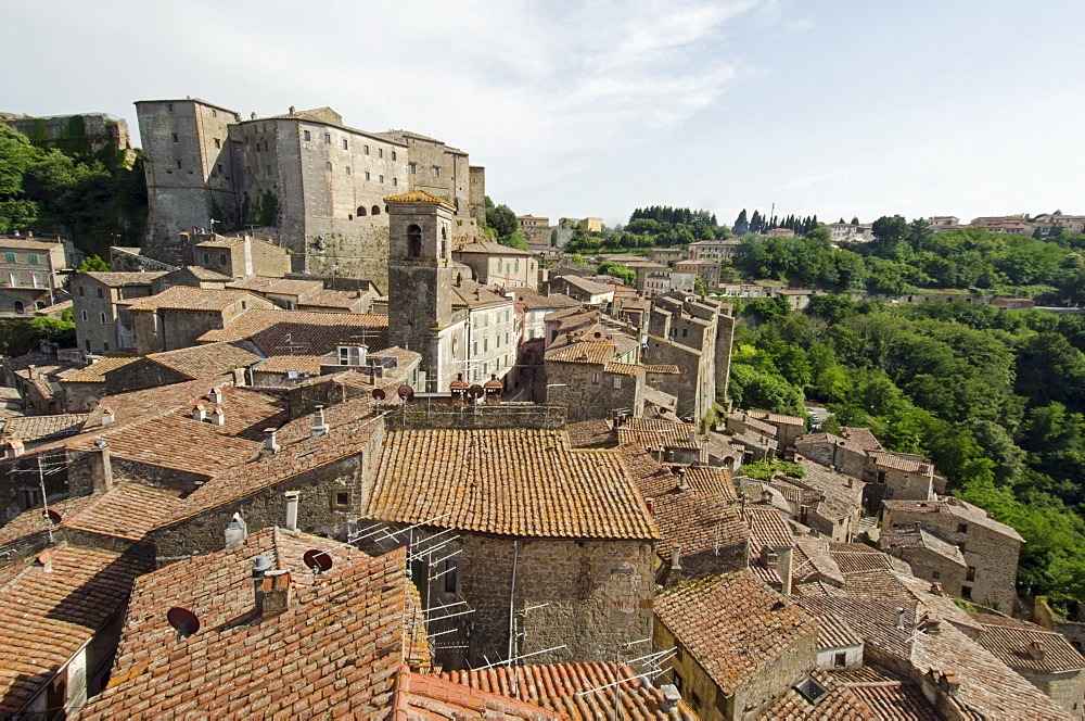 Italy, Tuscany, Sorano, Tile roofs of old town