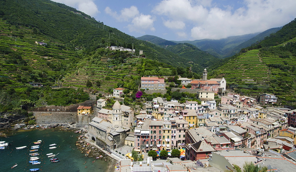 Italy, CinqueTerre, Vernazza, Landscape with town by sea