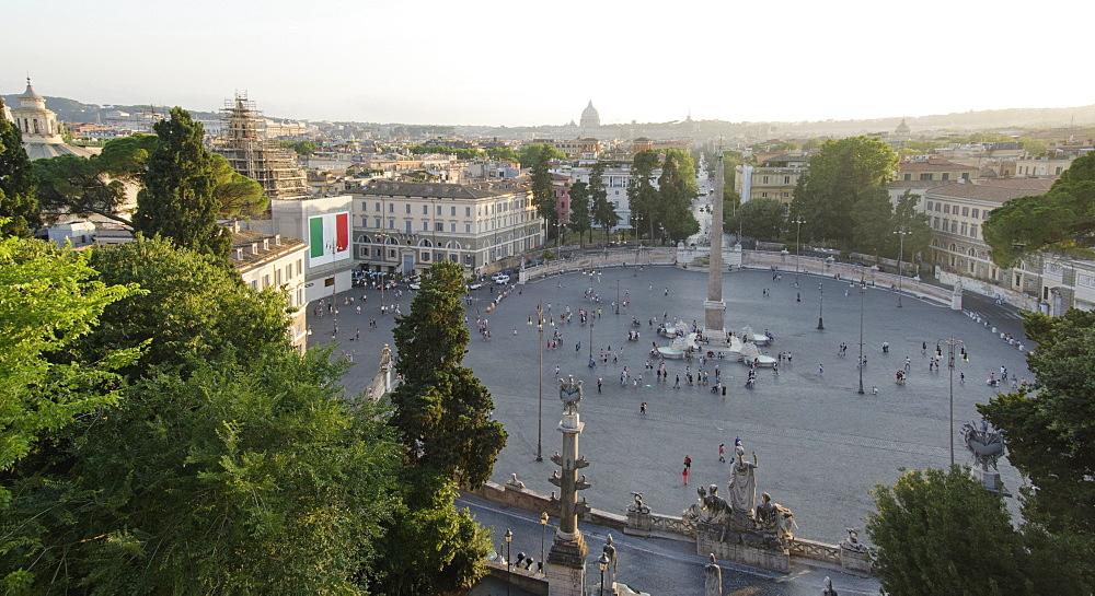 Italy, Rome, Sunny day over Piazza del Popolo
