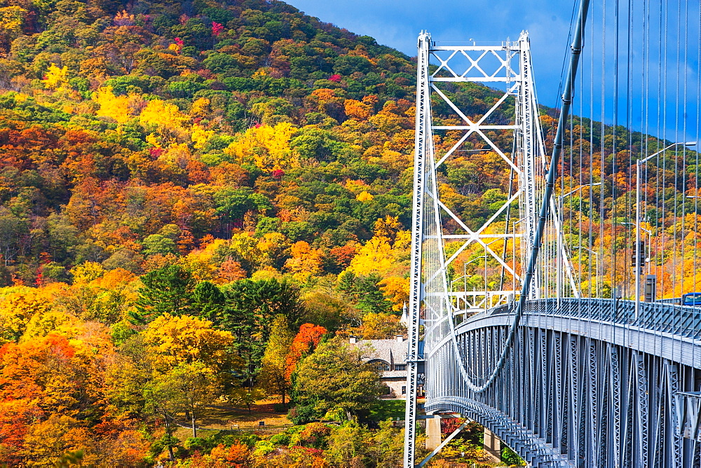 USA, New York, Bear Mountain with colorful autumn trees