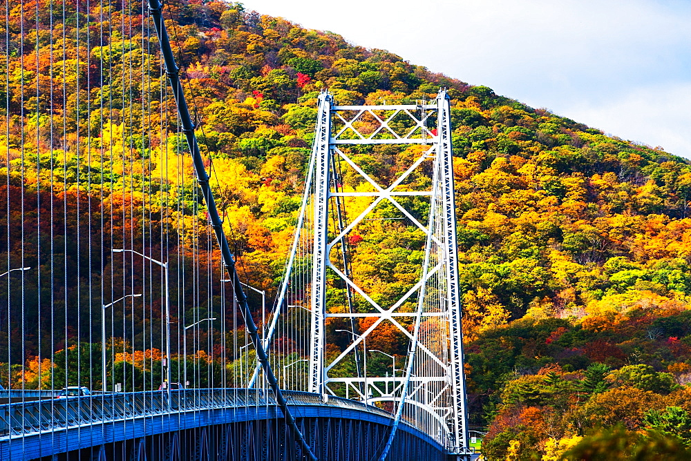 USA, New York, Bear Mountain with bridge above river