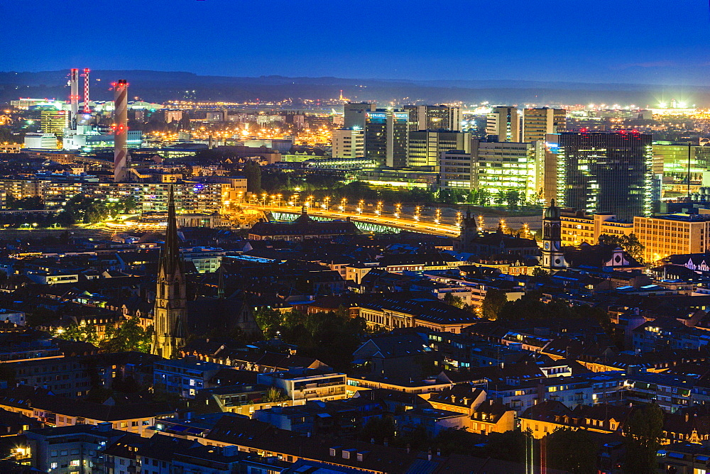 Switzerland, Basel, Basel-Stadt, Cityscape at night