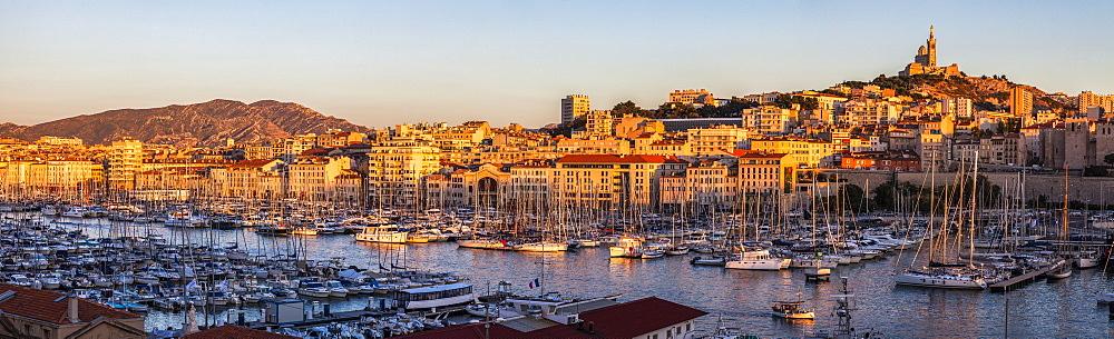 France, Provence-Alpes-Cote d'Azur, Marseille, Notre-Dame de la Garde above Vieux port - Old Port