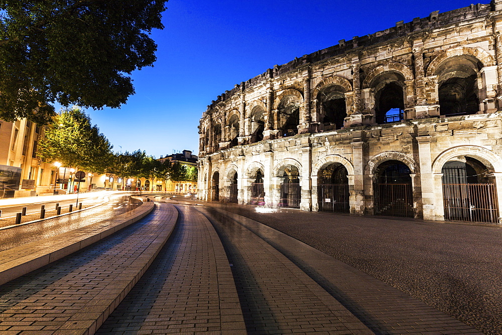 France, Occitanie, Nimes, Arena of Nimes at dusk