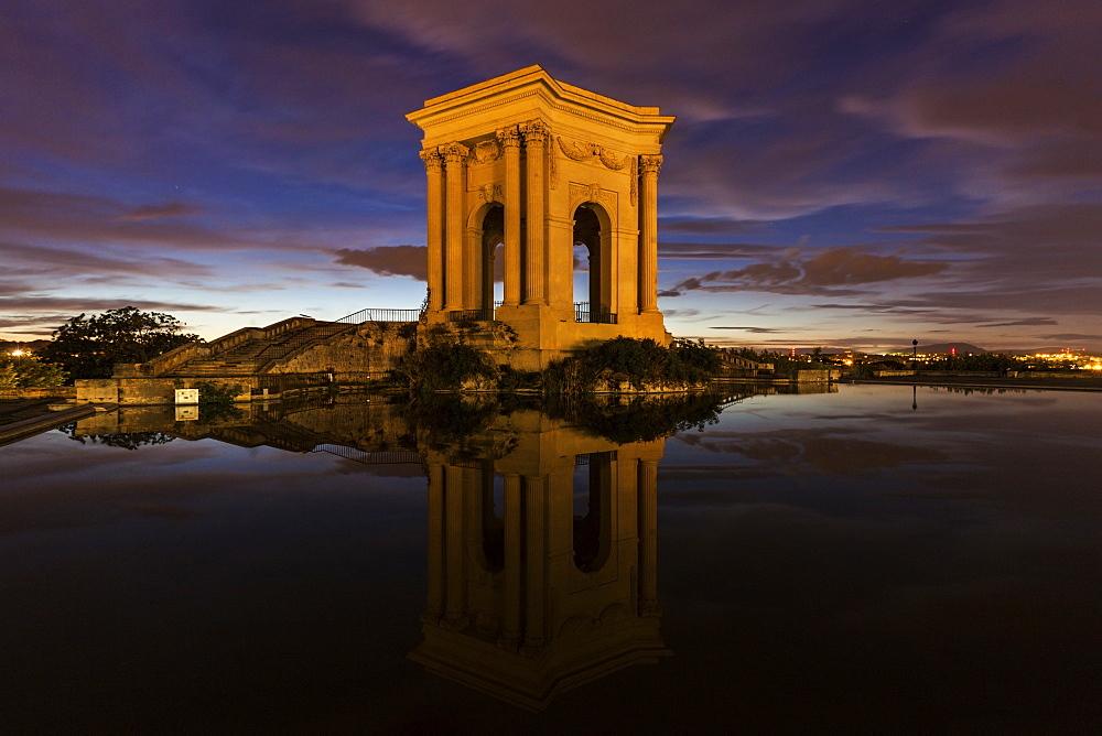 France, Occitanie, Montpellier, Pavillon du Peyrou at dusk