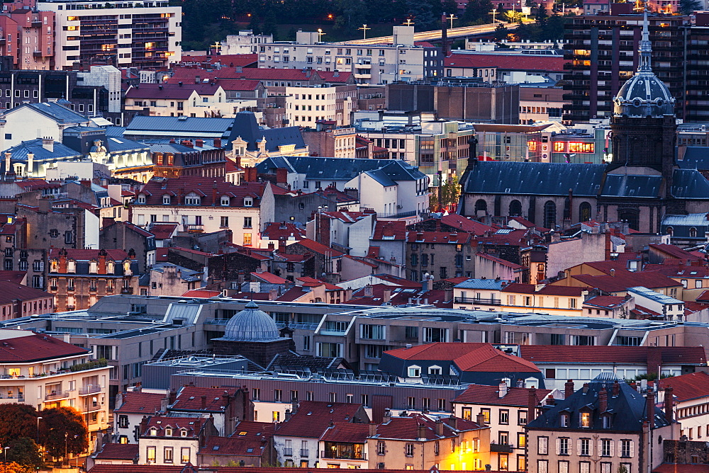 France, Auvergne-Rhone-Alpes, Clermont-Ferrand, Cityscape at dusk