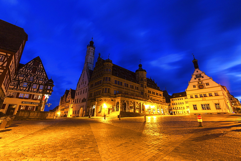 Germany, Bavaria, Rothenburg, Market Square at dusk