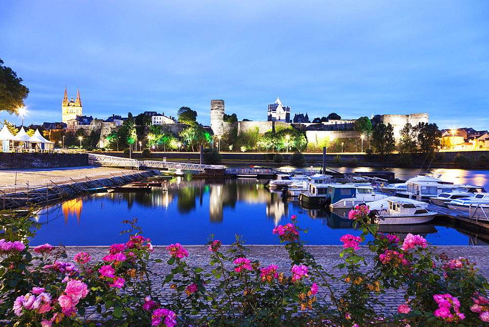 France, Pays de la Loire, Angers, Harbor by Chateau d'Angers at dusk