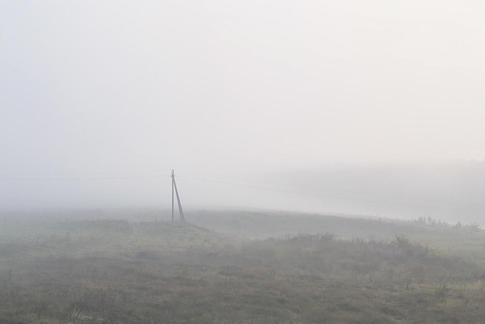 Ukraine, Dnepropetrovsk region, Novomoskovsk district, Electricity pylon standing in foggy field