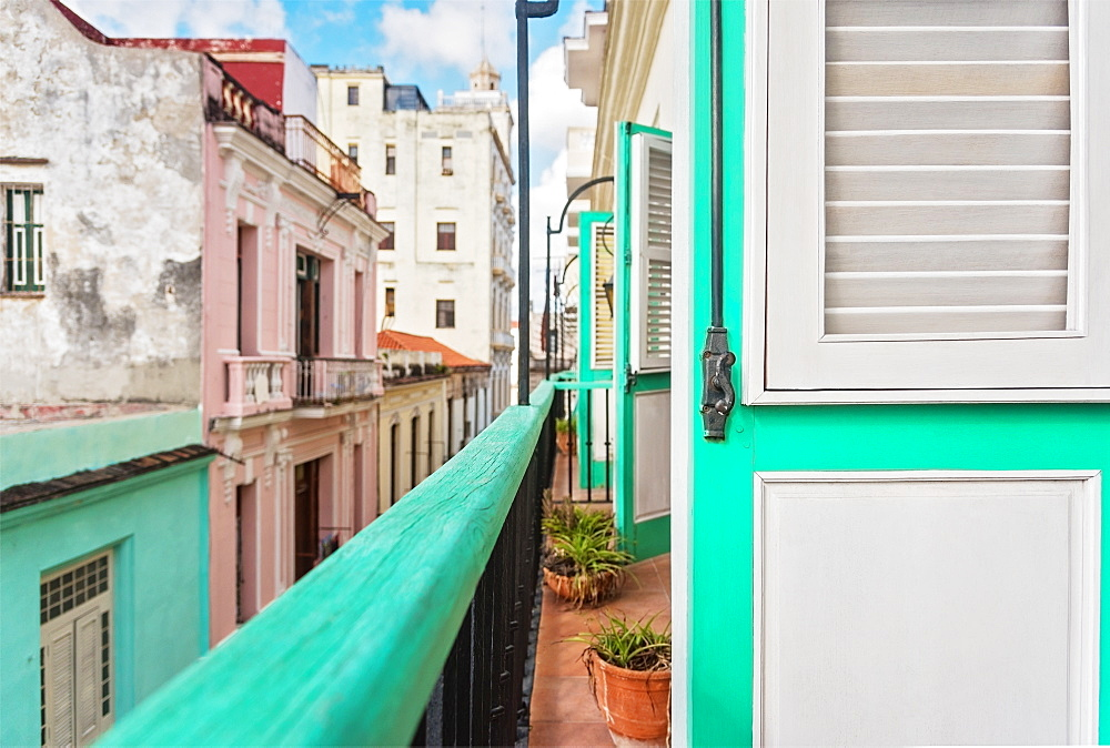 Cuba, Havana, Building terrace with turquoise doors