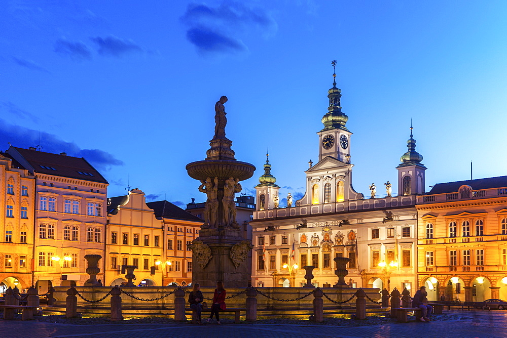 Czech Republic, Bohemia, Ceske Budejovice (Budweis), City Hall at night - 1178-26191