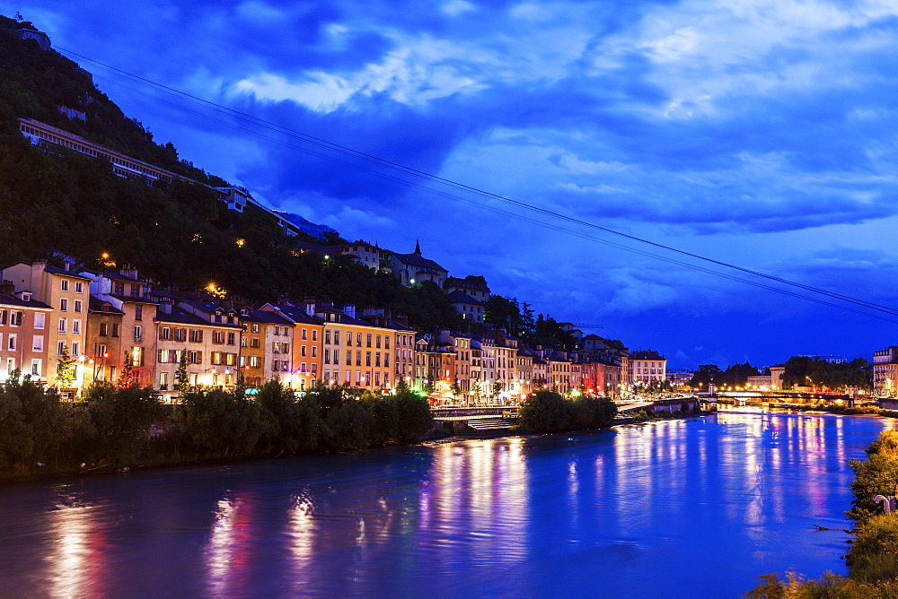 France, Auvergne-Rhone-Alpes, Grenoble, Grenoble architecture along Isere River