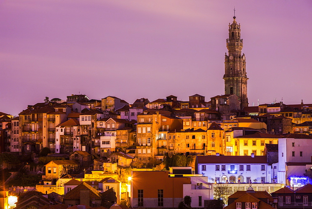 Portugal, Norte, Porto, Old Town of Porto with Clerigos Tower at sunrise