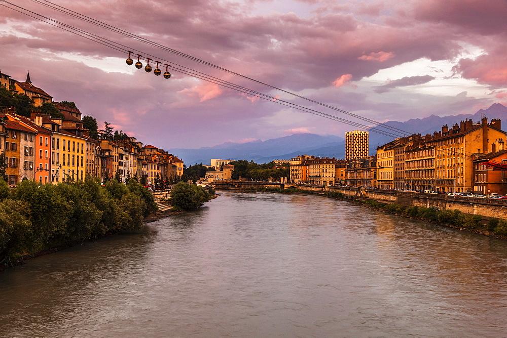 France, Auvergne-Rhone-Alpes, Grenoble-Bastille cable car