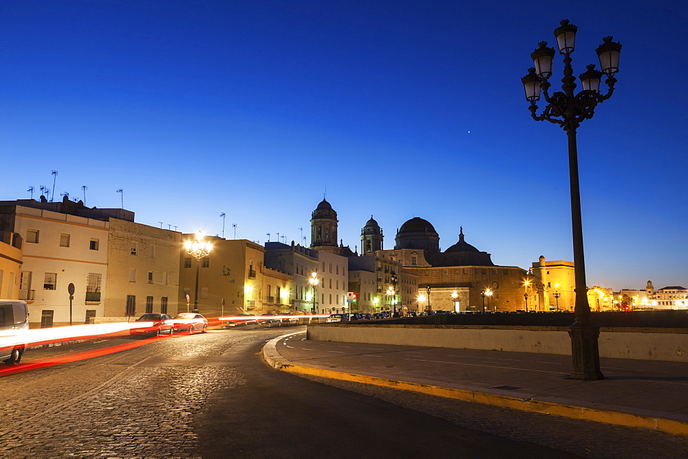 Spain, Andalusia, Cadiz, Cathedral de Cadiz in long exposure