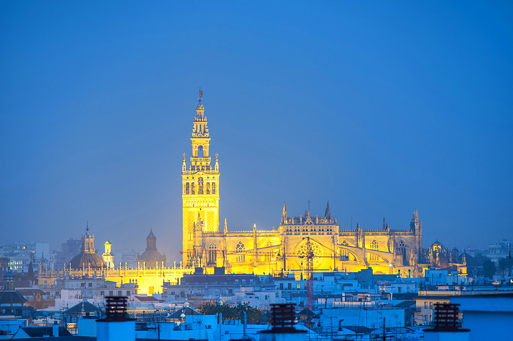 Spain, Seville, Giralda and Cathedral of Seville at dusk