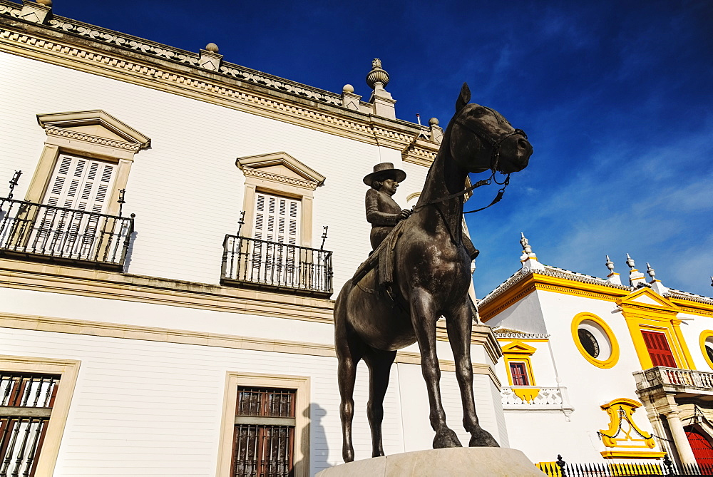 Spain, Seville, Equestrian statue of Augusta Senora Condesa de Barcelona in front of Plaza de Toros - 1178-26274