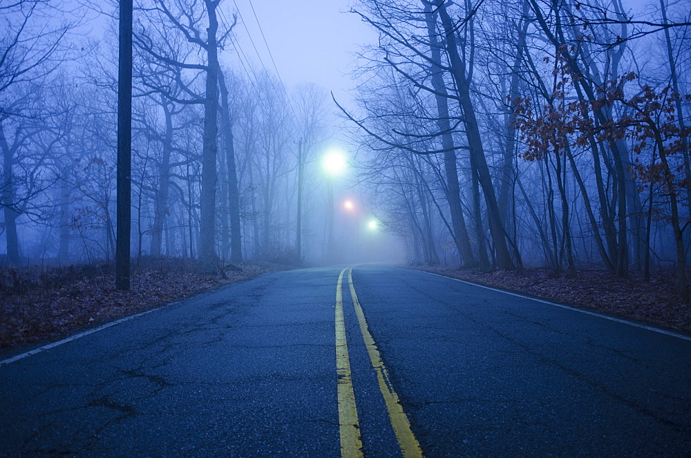 USA, New Jersey, Empty road at dawn