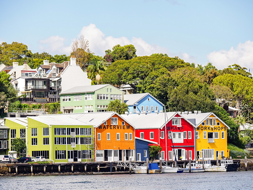 Australia, New South Wales, Sydney, Colorful houses near water