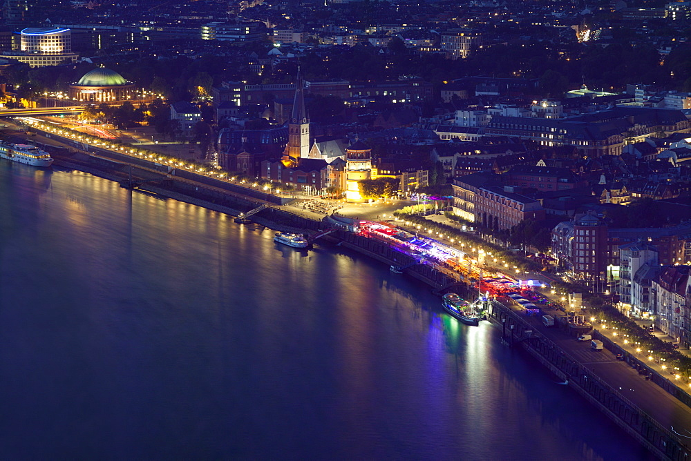 Aerial view of Dusseldorf at night in Germany, Dusseldorf, North Rhine-Westphalia, Germany