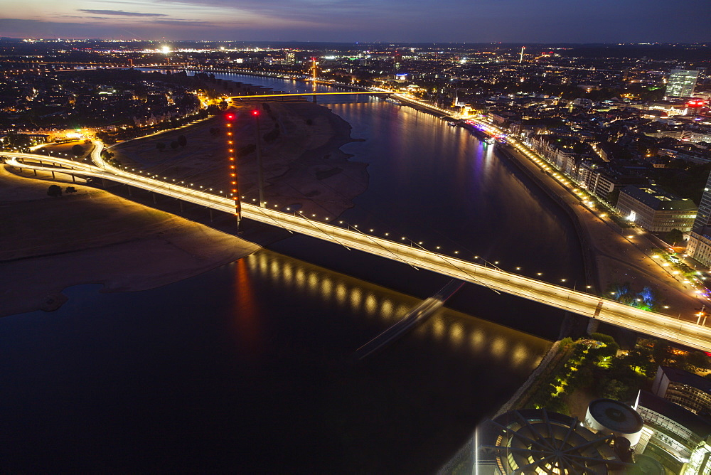 Aerial view of Rheinkniebrucke at night in Dusseldorf, Germany, Dusseldorf, North Rhine-Westphalia, Germany