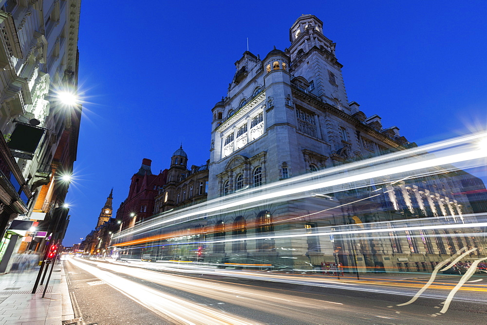 Light trails by building in Liverpool, England, Liverpool,  North West England, United Kingdom - 1178-26357