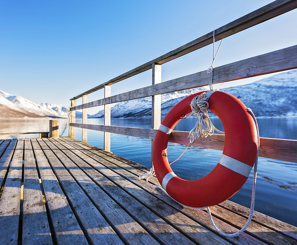 Life preserver on pier in Tromso, Norway