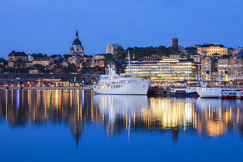 Ship on river at sunset in Stockholm, Sweden