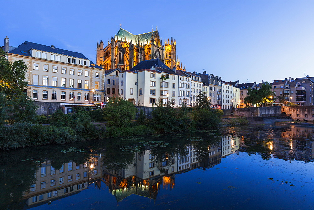 Metz Cathedral at sunset in France