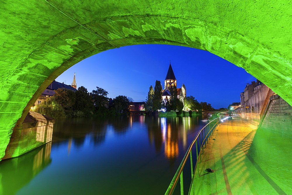 Temple Neuf and illuminated bridge in Metz, France
