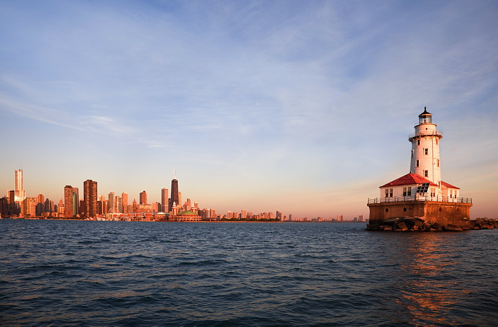 Chicago Harbor Lighthouse at sunrise in Chicago, Illinois, USA