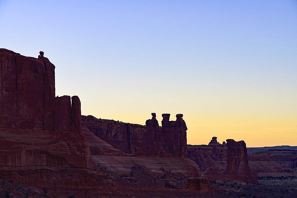 The Three Gossips at sunset in Arches National Park, Utah, USA