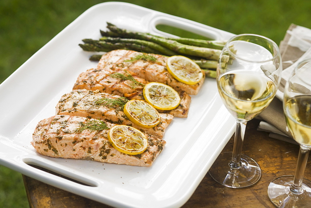 Grilled fish and asparagus on platter - 1178-2648