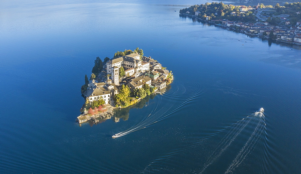 Aerial view of Isola San Giulio on Lake Maggiore, Italy