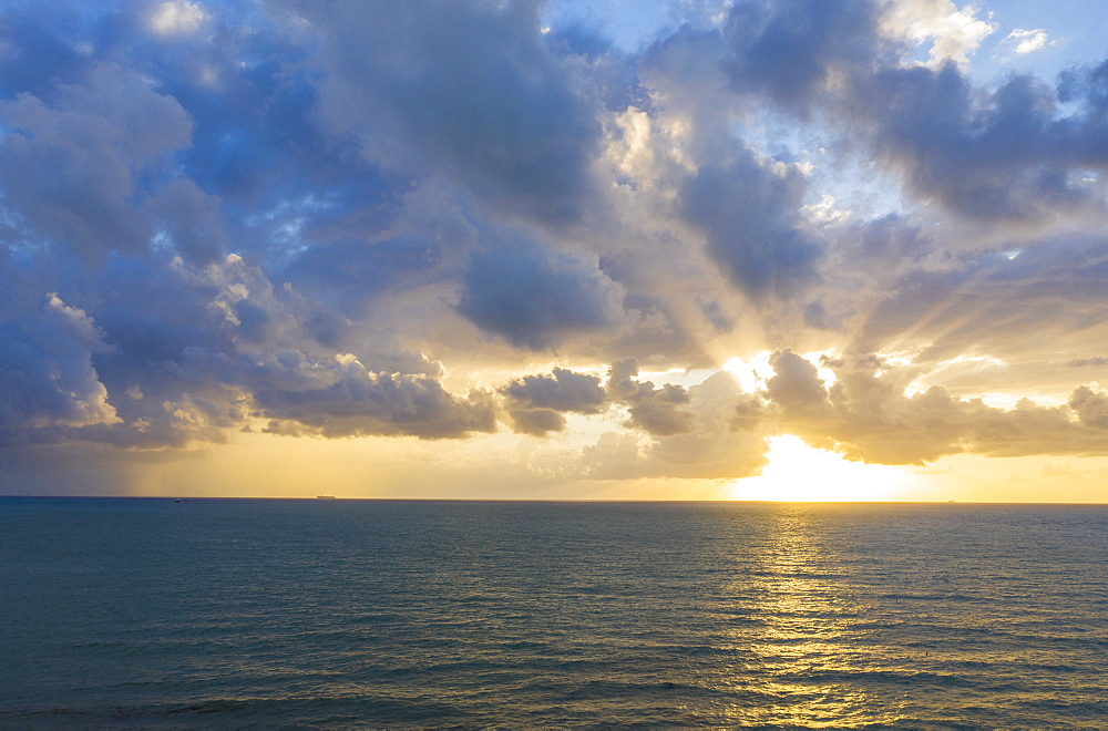 Sunset seascape in Miami Beach, Florida, USA