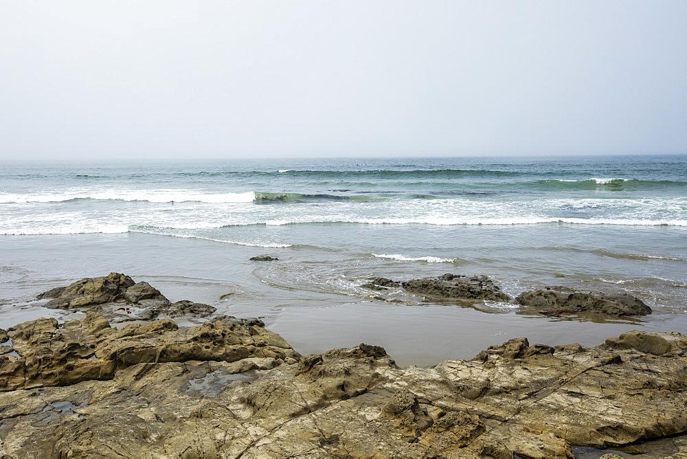 Rocks on beach in Morro Bay, California, USA