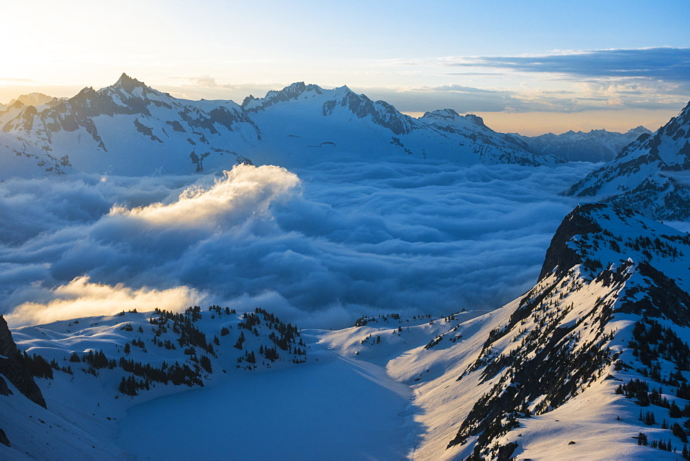 Peaks of Cascade Mountains in North Cascades National Park, Washington State, USA