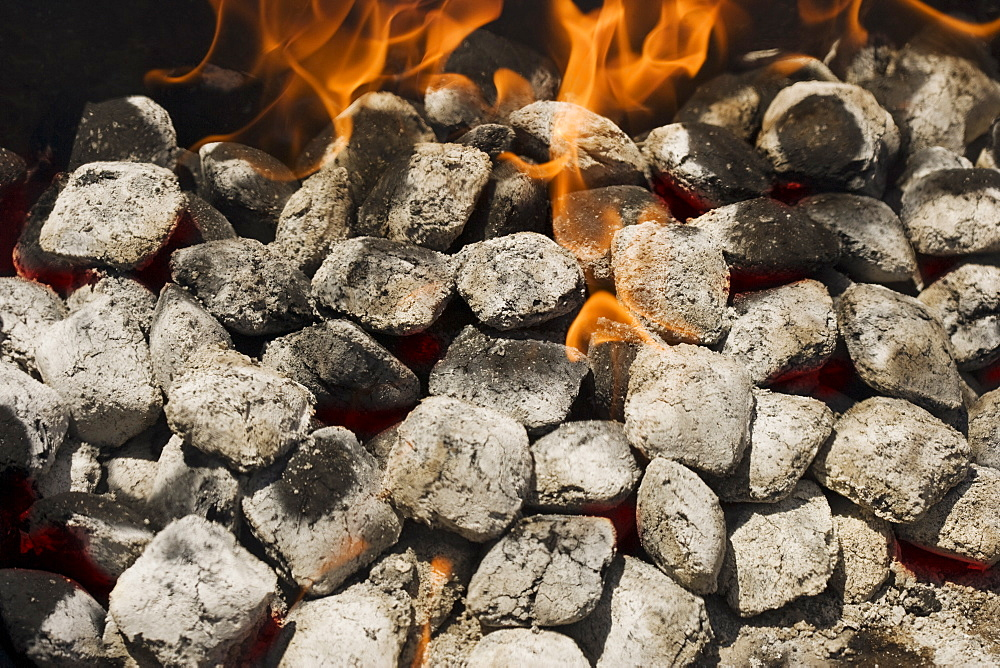 Close up of charcoal briquette fire