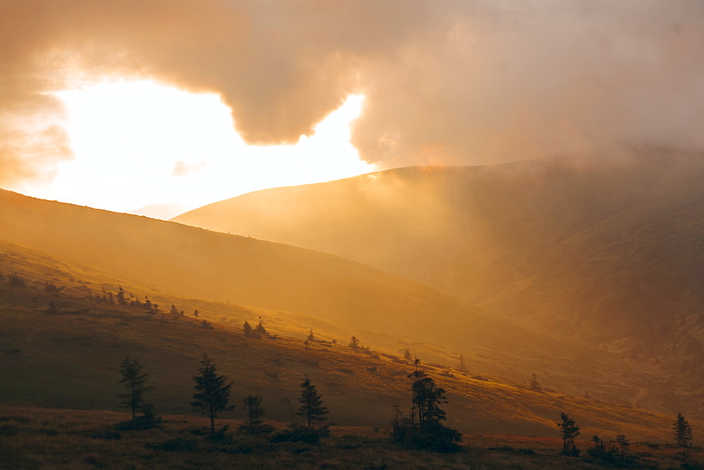 Sunrise over the Carpathian Mountain Range in Ukraine