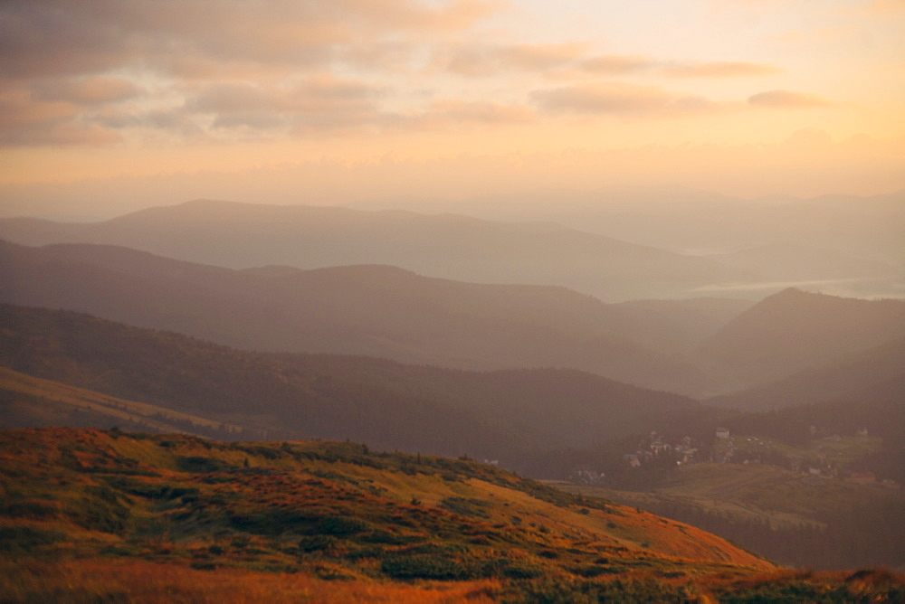 Mountains at sunrise at the Carpathian Mountain Range in Ukraine