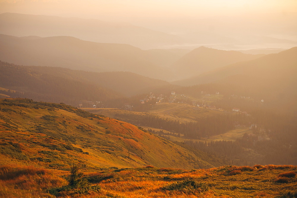 Mountains at sunrise in the Carpathian Mountain Range