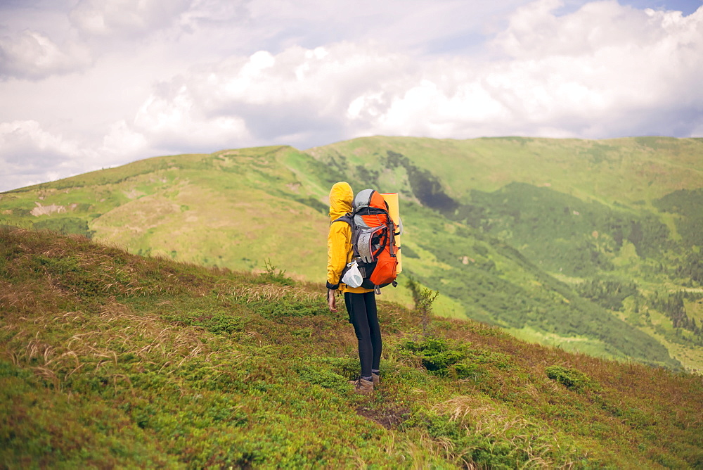 Woman hiking in the Carpathian Mountain Range