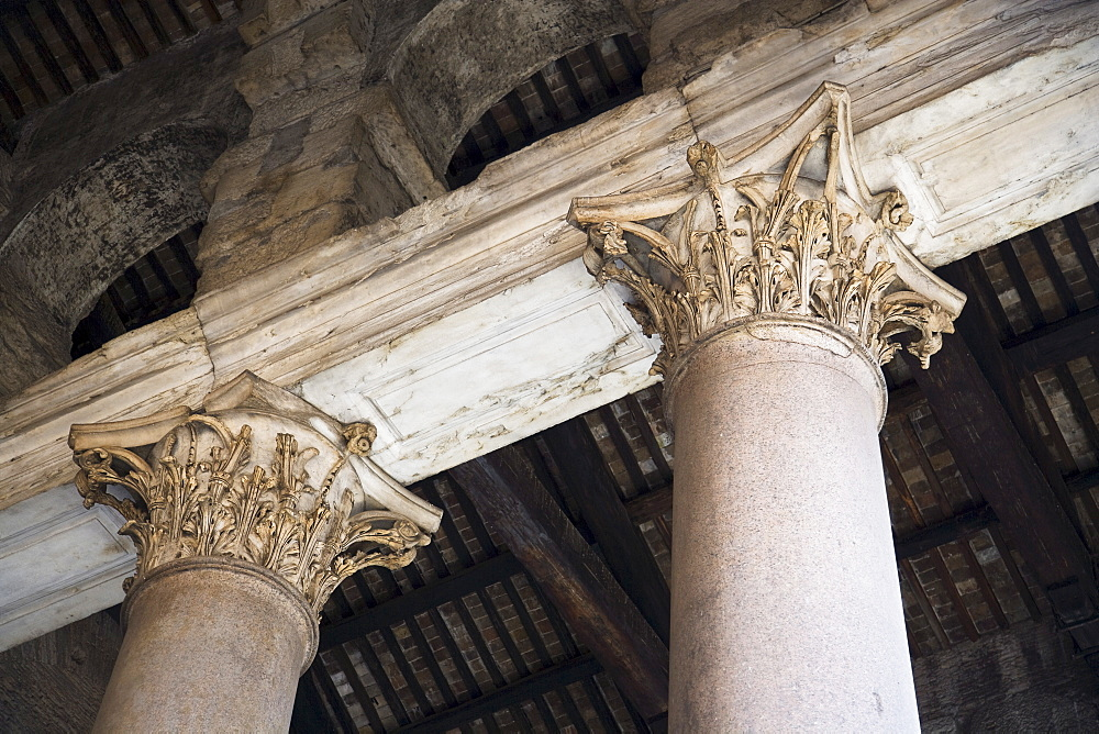 Low angle view of Corinthian columns, The Pantheon, Italy