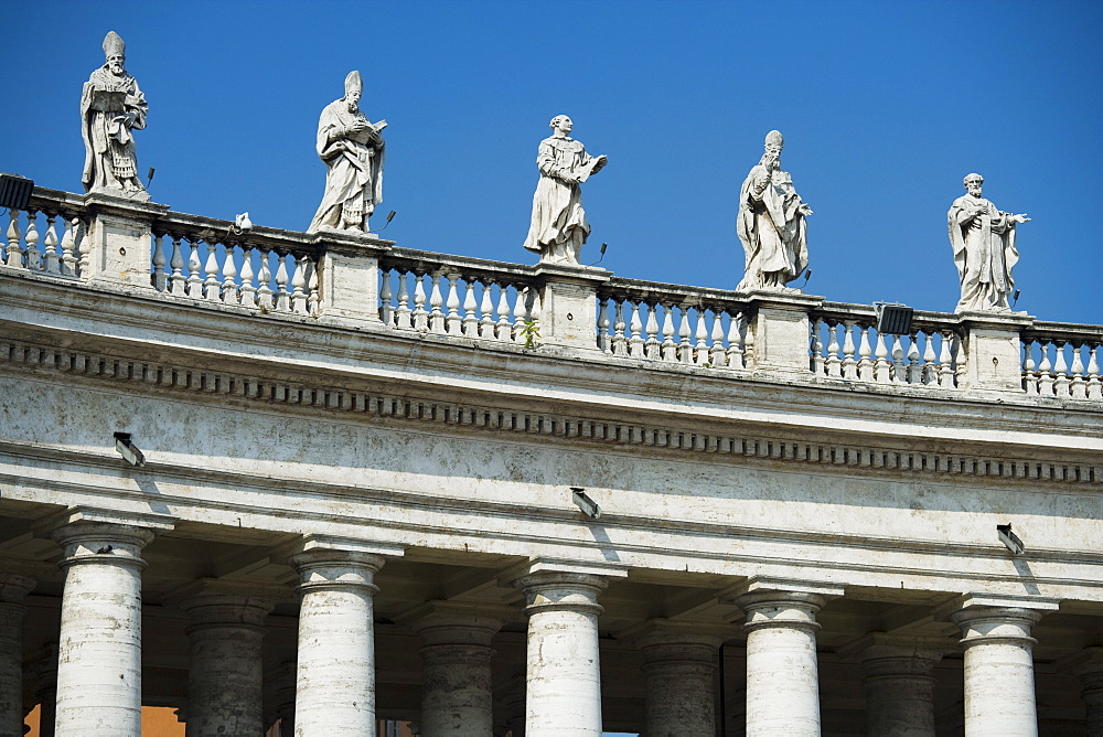 Statues on colonnade at St. Peter's Basilica, Italy