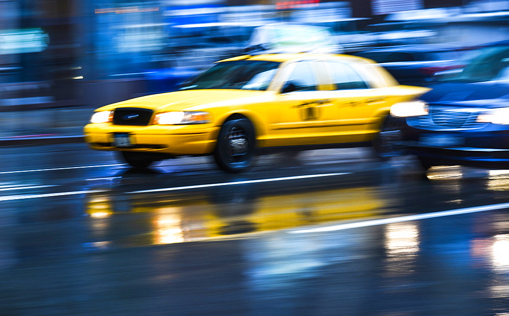 Long exposure of taxi in New York City, USA
