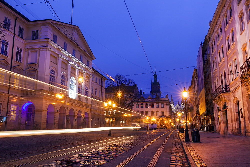Light trails on street at night in Lviv, Ukraine